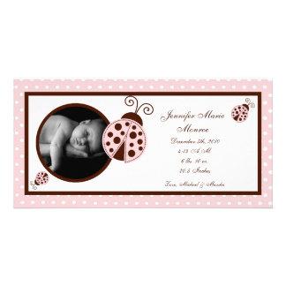 4x8 Pink Ladybug Photo Birth Announcement Custom Photo Card