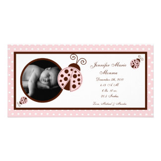 4x8 Pink Ladybug Photo Birth Announcement Photo Cards