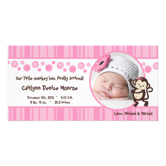 4x8 Pink Pop Monkey Girl Photo Birth Announcement Photo Greeting Card