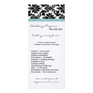 4x9 Wedding Program - Black Damask Blue Invitations