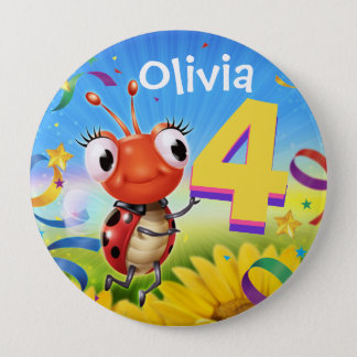 4yrs Custom birthday badge Little Ladybug range 4 Inch Round Button