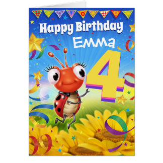 4yrs Custom birthday card Little Ladybug range