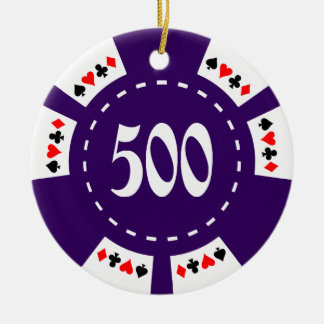 500 Dollar Poker Chip Ceramic Ornament