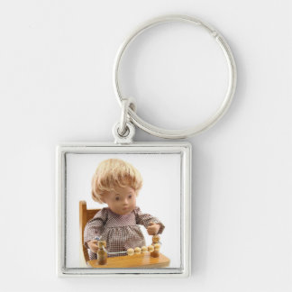 501 Sasha baby blond Sandy key supporter Silver-Colored Square Keychain