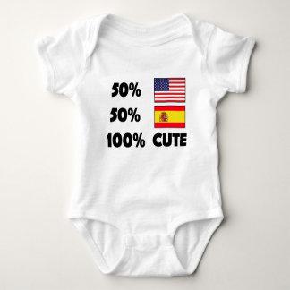 50% American 50% Spanish 100% Cute Baby USA Spain Baby Bodysuit