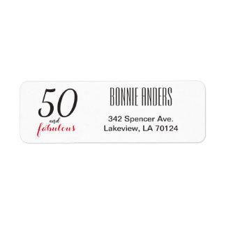 50 an Fabulous 50th Birthday Return Address Label