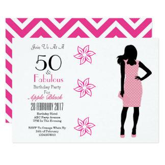 50 And Fabulous 50th Birthday Chevron Invitation
