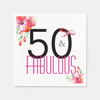 50 and Fabulous 50th Birthday Party Napkins Paper Napkin