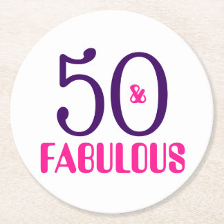 50 And Fabulous 50th Birthday Party Paper Coaster