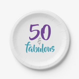 50 and Fabulous - 50th Birthday Party Supplies Paper Plate