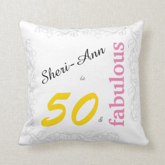 50 and Fabulous 50th Birthday Pillow