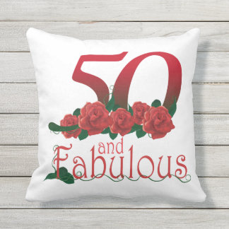 50 and fabulous 50th birthday red roses Pillow