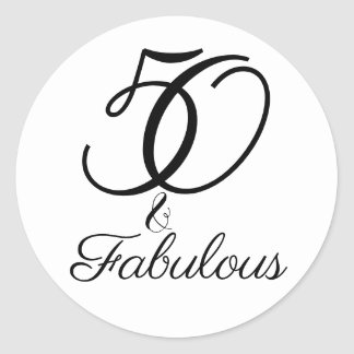 50 and Fabulous Birthday Celebration Classic Round Sticker