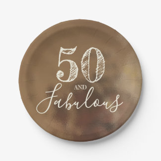 50 And Fabulous. Birthday. Creamy Gold Background. Paper Plate