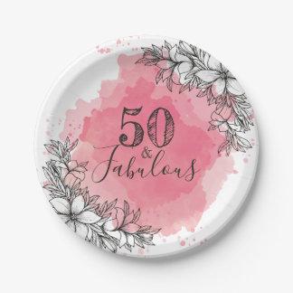50 And Fabulous. Birthday. Flowers in Watercolor. Paper Plate