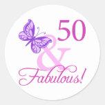 50 And Fabulous Birthday Gifts (Plum) Classic Round Sticker
