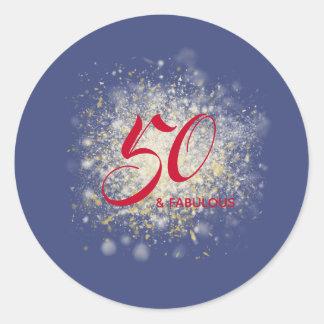 50 and Fabulous Birthday Glitter 50th Birthday Classic Round Sticker