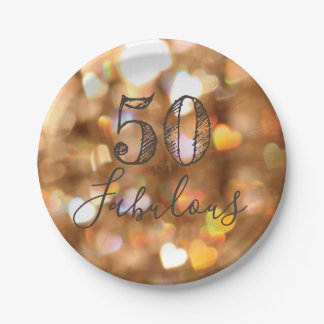 50 And Fabulous. Birthday. Golden Hearts Bokeh. Paper Plate