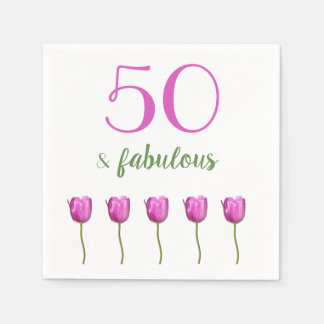 50 and Fabulous Birthday Napkin | Magenta Tulip