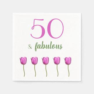 50 and Fabulous Birthday Napkin | Magenta Tulip Paper Napkins