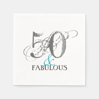 50 and Fabulous Birthday Paper Party Napkins Disposable Napkins