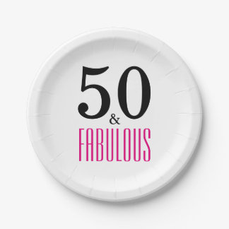 50 and Fabulous Birthday Paper Plate 7 Inch Paper Plate