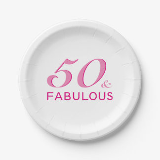 50 and Fabulous Birthday Party 7 Inch Paper Plate