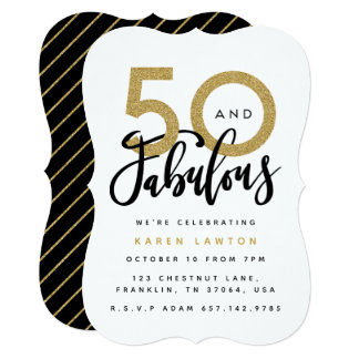 50 and fabulous birthday party invitation