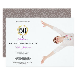 50 and Fabulous Birthday Party Invitation Card