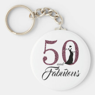 50 and Fabulous Birthday Party Keychain