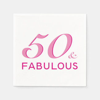 50 and Fabulous Birthday Party Napkins Paper Napkins