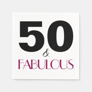 50 and Fabulous Birthday Party Paper Napkins