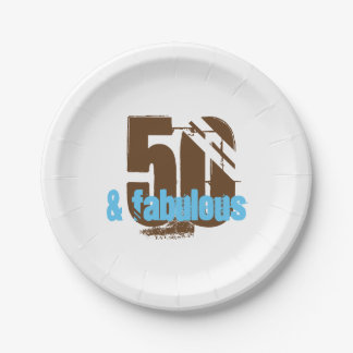 50 and Fabulous Birthday Party Paper Plate 7 Inch Paper Plate