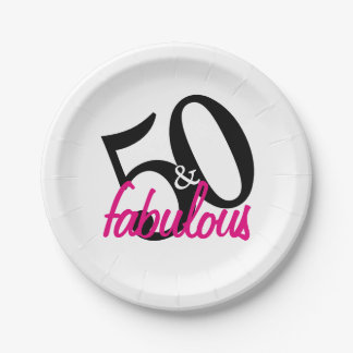 50 and Fabulous Birthday Party Paper Plates 7 Inch Paper Plate