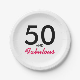 50 and Fabulous Birthday Party Paper Plates Decor 7 Inch Paper Plate