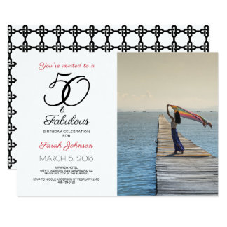 50 and Fabulous Birthday Party Photo Card