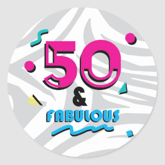 50 and Fabulous Birthday Party Sticker
