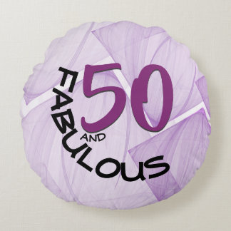 50 and Fabulous Birthday | Purple & Black Round Pillow