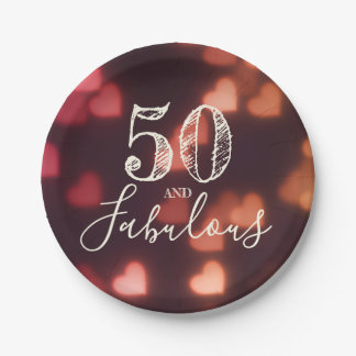 50 And Fabulous. Birthday. Red Hearts Bokeh. Paper Plate