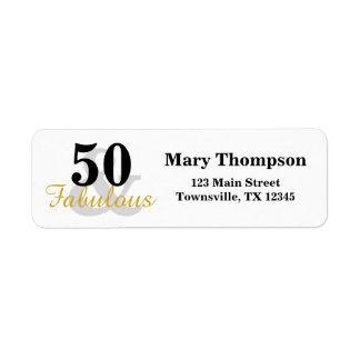 50 and Fabulous birthday Return Address Labels