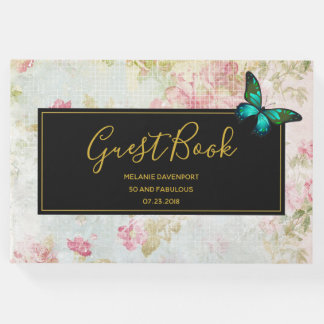 50 and Fabulous Butterfly on Vintage Collage Guest Book