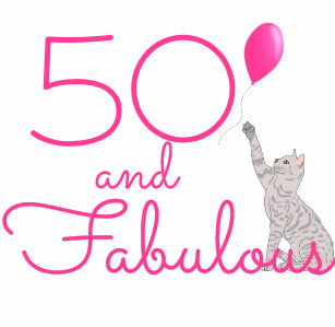 50 And Fabulous Cat Lovers 50th Birthday Gift Can Cooler