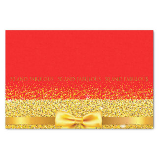 50 and fabulous chic gold bow and ribbon on red tissue paper