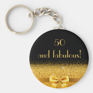 50 and fabulous Chic golden bow with sparkle black Basic Round Button Keychain
