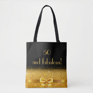 50 and fabulous Chic golden bow with sparkle black Tote Bag