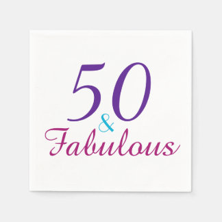 50 and Fabulous Colorful Birthday Party Paper Napkins