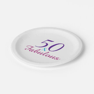 50 and Fabulous Colorful Birthday Party Paper Plate