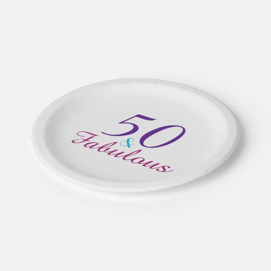 50 and Fabulous Colourful Birthday Party 7 Inch Paper Plate