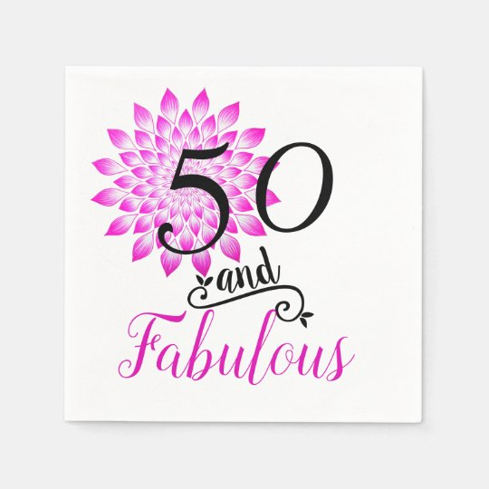 50 and Fabulous Colourful Pink Birthday Party Disposable Napkins