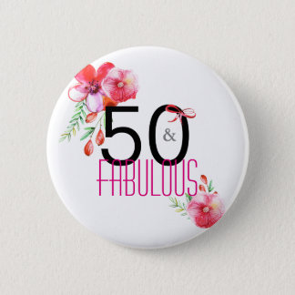 50 and Fabulous Elegant 50th Birthday Party 2 Inch Round Button